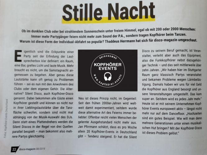 Disco Magazin Beitrag über das Konzept Silent Disco und die Firma Kopfhörer Events Deutschland - Seite 1
