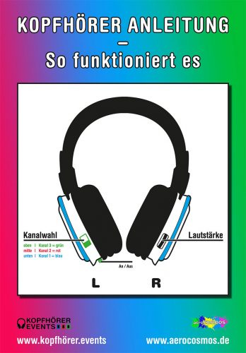 Silent Disco Anleitungsplakat Modell Neon Lights von Kopfhörer Events Deutschland