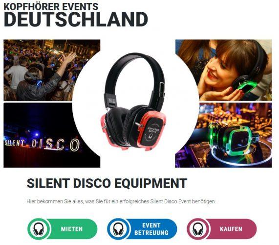 Silent Disco Mieten- und Kaufen Anfrageformular von Kopfhörer Events Deutschland