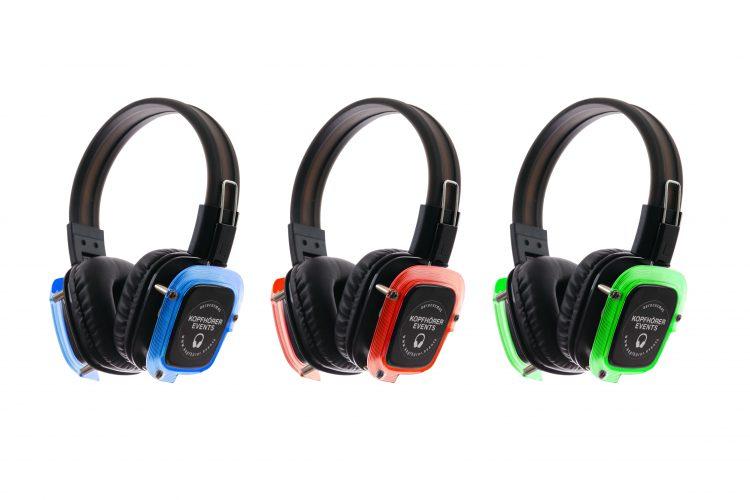 Silent Disco Kopfhörer 3 Kanäle RGB Modell NEON Lights mit LEDs in rot, grün und blau von Kopfhörer Events Deutschland