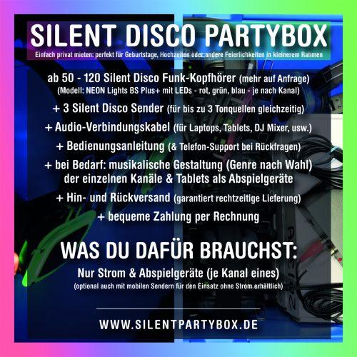 Silent Disco Partybox Flyer mit allen Informationen zur Miete von einer Silent Disco für Hochzeiten, Geburtstage oder andere private Anlässe