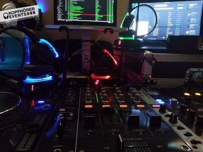 Silent Disco DJ Setup mit 3 Kanälen