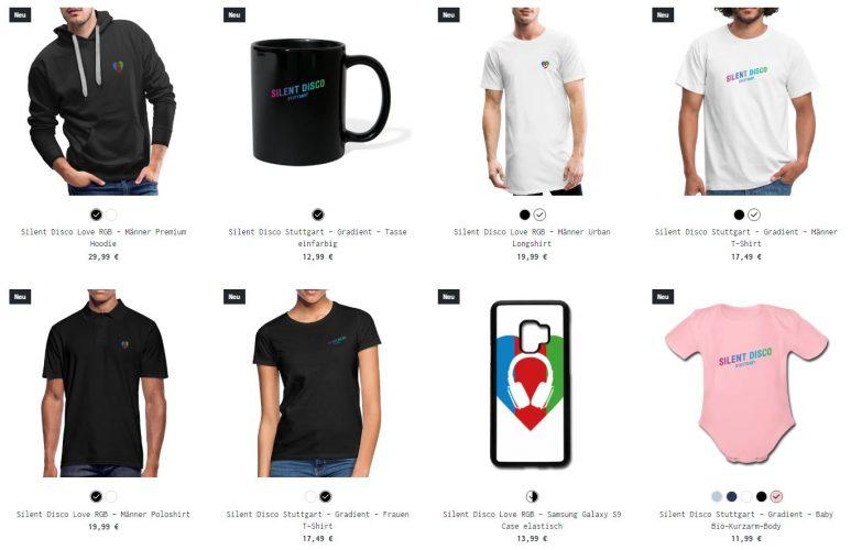 Silent Disco Merchandise Shop Produkte