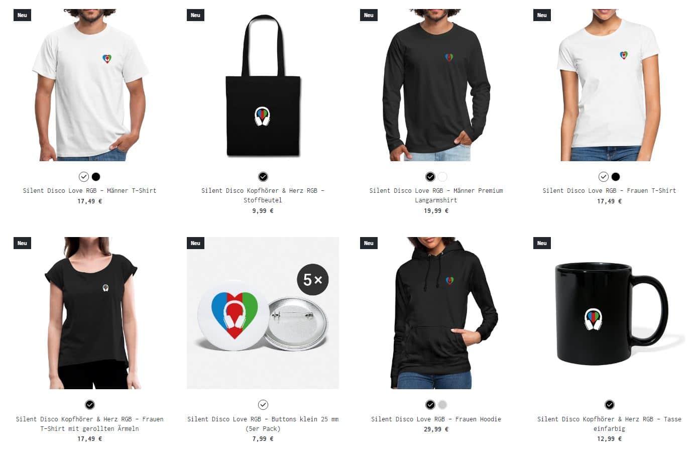 Silent Disco Fanshop Produkte