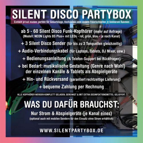 Silent Disco Partybox Flyer für eine Kopfhörerparty Zuhause oder privat mieten