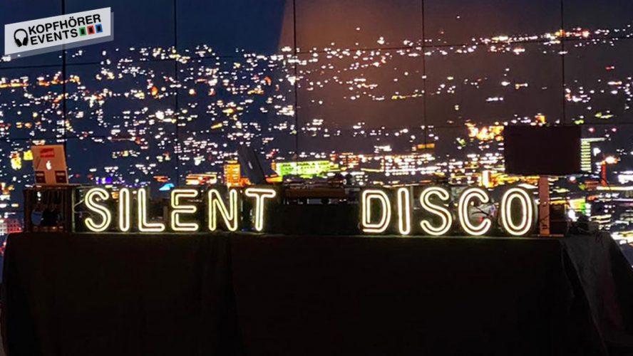 silent disco schriftzug stuttgart skyline