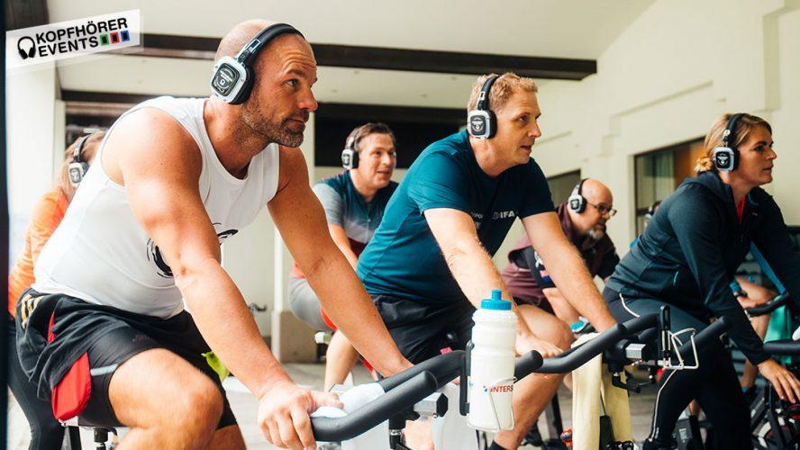 Silent Fitness Cycling mit Silent Disco Kopfhörern