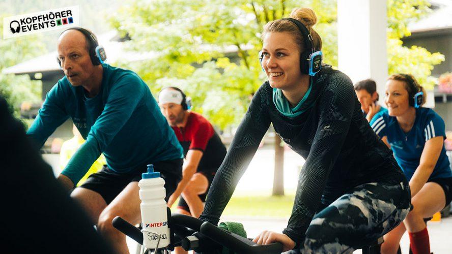 Silent Fitness Cycling mit Silent Disco Kopfhörern von Kopfhörer Events Deutschland