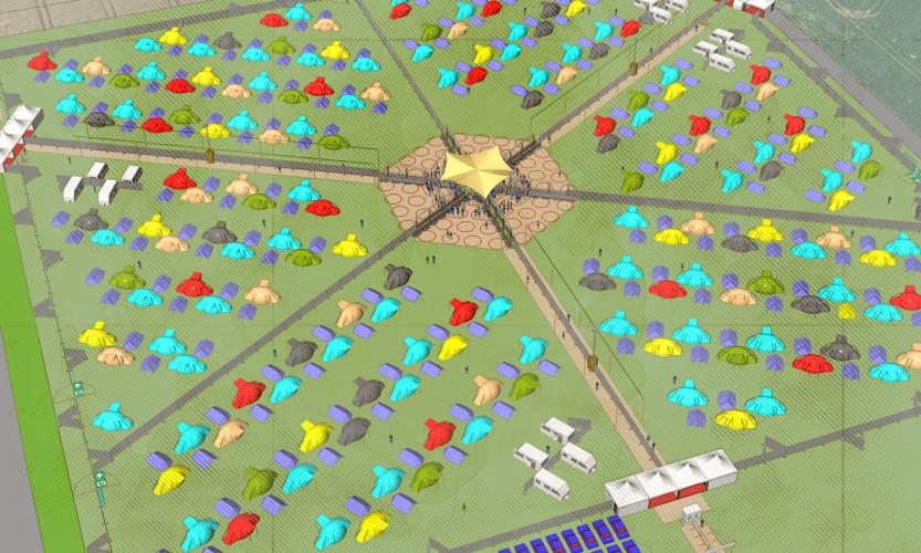 360 Grad Bühne mit 6 einzelnen und coronakonformen Sektoren
